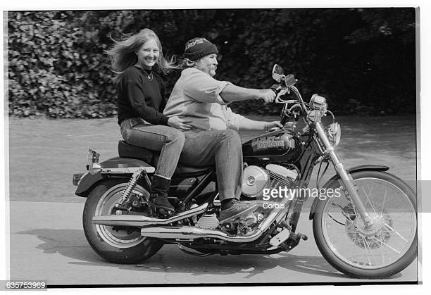 Jan Dance rides behinds her fiancee David Crosby in the driveway of their home Crosby was a member of the 1960s band the Byrds and then helped found...