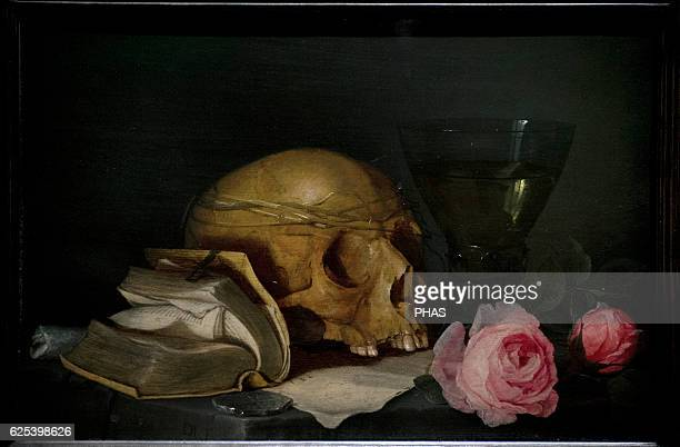 Jan Davidsz de Heem Flemish painter A Vanitas Still Life with a Skull a Book and Roses c 1630 National Museum Stockholm Sweden