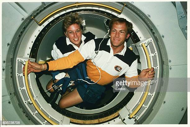 Jan Davis and Mark Lee the first married couple in space aboard the shuttle Endeavor