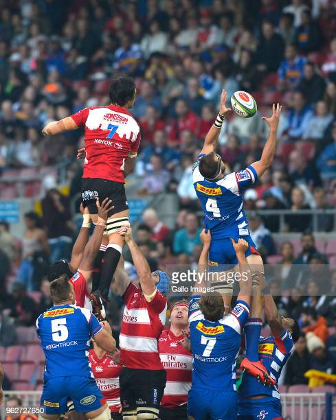 Jan de Klerk of the Stormers steals the lineout ball during the Super Rugby match between DHL Stormers and Emirates Lions at DHL Newlands Stadium on...
