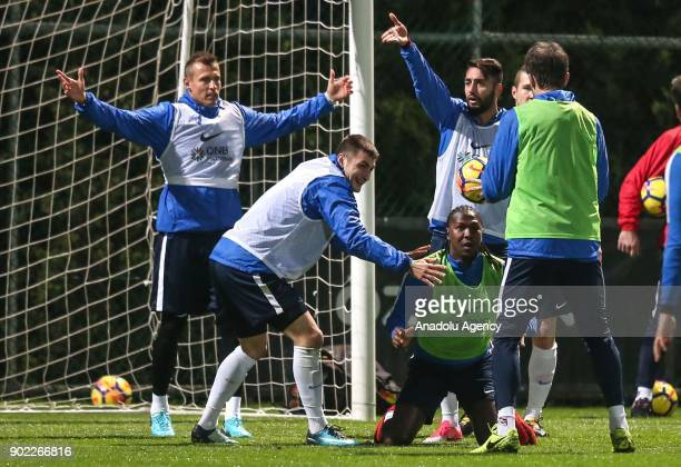Jan Durica and Hugo Rodallega Martinez of Trabzonspor attend the training session within the team's midseason training camp in Antalya Turkey on...