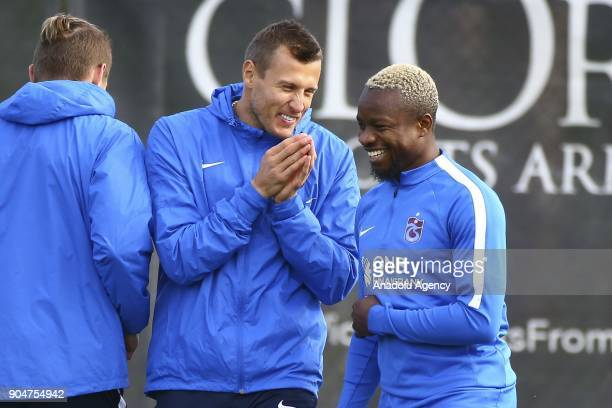 Jan Durica and Onazi of Trabzonspor attends the training session within the team's midseason training camp in Antalya Turkey on January 14 2018