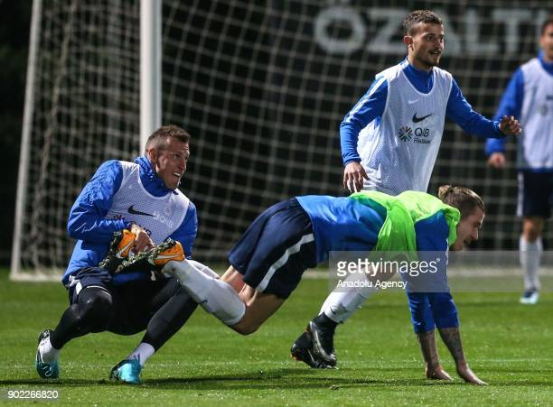 Jan Durica and Yusuf Yazici of Trabzonspor attend the training session within the team's midseason training camp in Antalya Turkey on January 7 2018