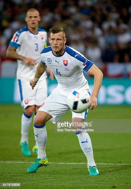 Jan Durica in action for Slovakia during the UEFA EURO 2016 Group B match between Slovakia and England at Stade GeoffroyGuichard on June 20 2016 in...