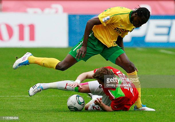 Jan Durica of FC Lokomotiv Moscow battles for the ball with Lacina Traore of FC Kuban Krasnodar during the Russian Football League Championship match...
