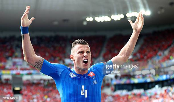 Jan Durica of Slovakia celebrates his team's first goal during the UEFA EURO 2016 Group B match between Wales and Slovakia at Stade Matmut Atlantique...