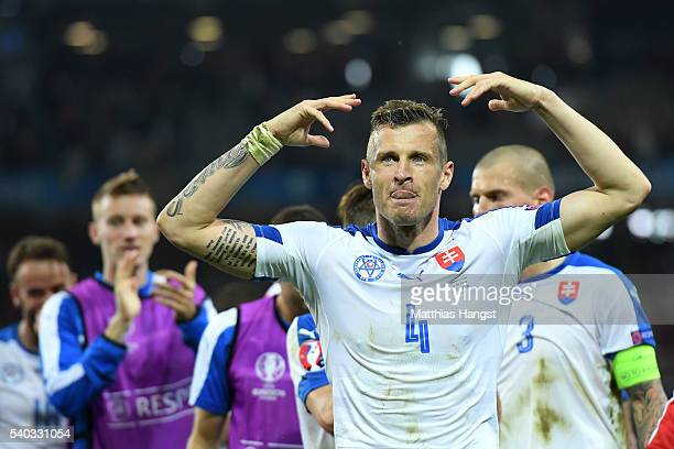 Jan Durica of Slovakia celebrates victory during the UEFA EURO 2016 Group B match between Russia and Slovakia at Stade PierreMauroy on June 15 2016...