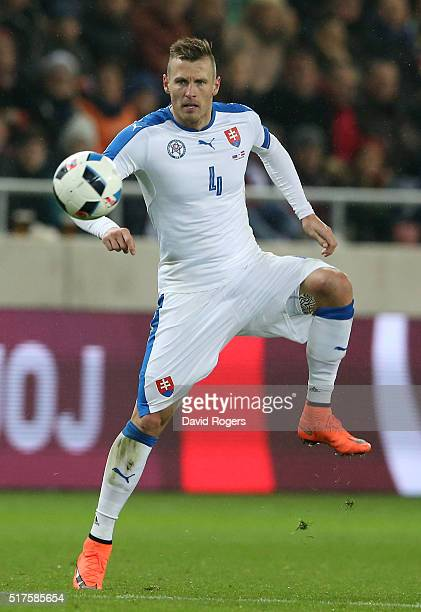 Jan Durica of Slovakia contols the ball during the international friendly match between Slovakia and Latvia held at Stadion Antona Malatinskeho on...