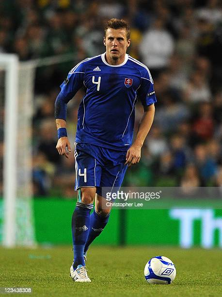 Jan Durica of Slovakia during the UEFA EURO 2012 group B Qualifier match between Republic of Ireland and Slovakia at the AVIVA Stadium on September 2...