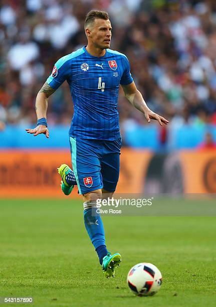 Jan Durica of Slovakia in action during the UEFA EURO 2016 round of 16 match between Germany and Slovakia at Stade PierreMauroy on June 26 2016 in...
