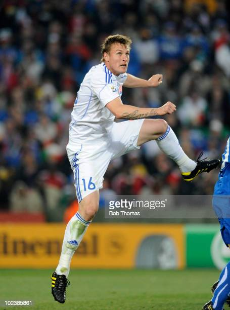 Jan Durica of Slovakia in mid air during the 2010 FIFA World Cup South Africa Group F match between Slovakia and Italy at Ellis Park Stadium on June...