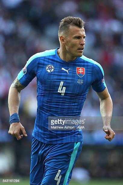 Jan Durica of Slovakia looks on during the UEFA Euro 2016 Round of 16 match between Germany and Slovakia at Stade PierreMauroy on June 26 2016 in...