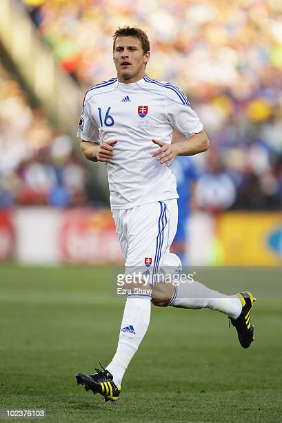 Jan Durica of Slovakia runs with the ball during the 2010 FIFA World Cup South Africa Group F match between Slovakia and Italy at Ellis Park Stadium...
