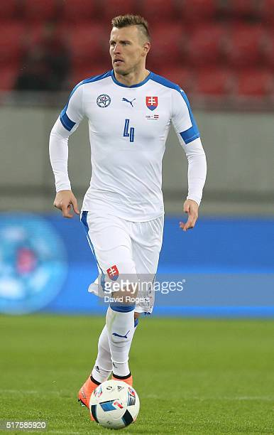 Jan Durica of Slovakia runs with the ball during the international friendly match between Slovakia and Latvia held at Stadion Antona Malatinskeho on...