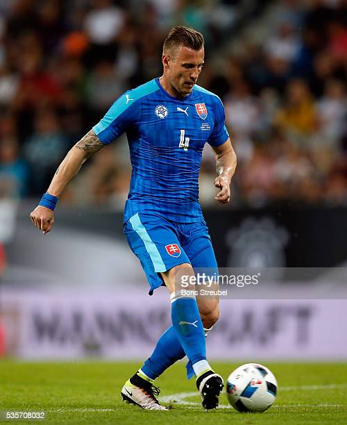 Jan Durica of Slovakia runs with the ball during the International Friendly match between Germany and Slovakia at WWKArena on May 29 2016 in Augsburg...
