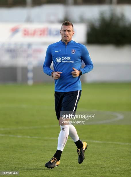 Jan Durica of Trabzonspor exercises during Trabzonspor's new head coach Riza Calimbay's first training session with the team in Trabzon Turkey on...