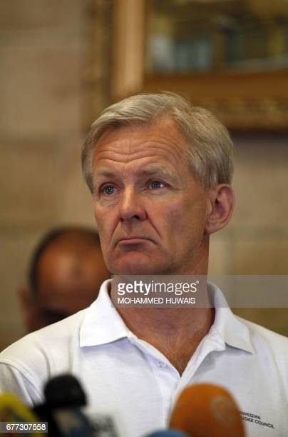 Jan Egeland, Secretary General of the Norwegian Refugee Council gestures during a press conference, in which he spoke about the suffering caused by...