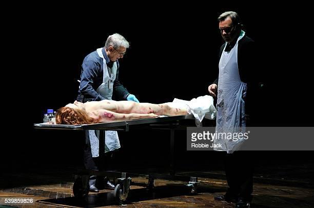 Jan Englert as Doctor John Seward and Jan Frycz as Abraham Van Helsing with Sandra Korzeniak as Lucy in TR Warszawa's production of Nosferatu...