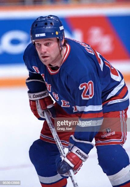 Jan Erixon of the New York Rangers skates against the Toronto Maple Leafs during NHL game action on January 28 1989 at Maple Leaf Gardens in Toronto...