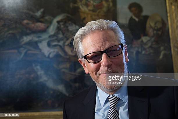 Jan Fabre listens journalists at the opening of his exhibition quotJan Fabre Knight of Despair / Warrior of Beautyquot in the Hermitage Museum in...