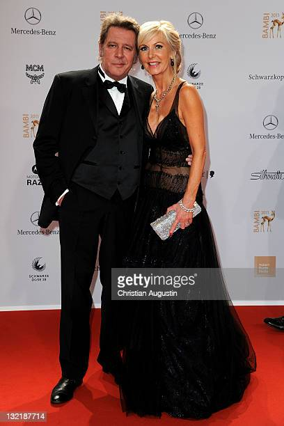 Jan Fedder and his wife Marion attend the Red Carpet for the Bambi Award 2011 ceremony at the RheinMainHallen on November 10 2011 in Wiesbaden Germany