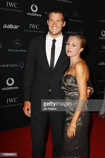 Jan Frodeno and Emma Snowsill attend the 2011 Laureus World Sports Awards at the Emirates Palace on February 7 2011 in Abu Dhabi United Arab Emirates