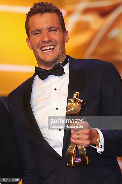 Jan Frodeno is awarded as Athlete of the Year 2015 during the Sportler des Jahres 2015 gala at Kurhaus Baden-Baden on December 20, 2015 in...