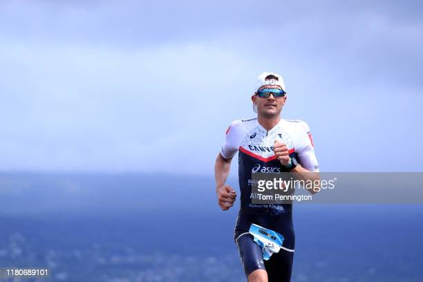 Jan Frodeno of Germany competes in the run during the Ironman World Championships on October 12, 2019 in Kailua Kona, Hawaii.