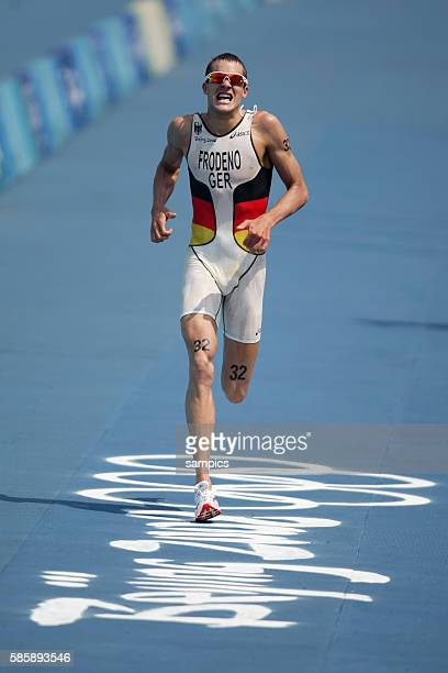 Jan Frodeno of Germany during the running part of the Men's Triathlon at the Beijing 2008 Olympic Games in Beijing China Jan Frodeno won the gold