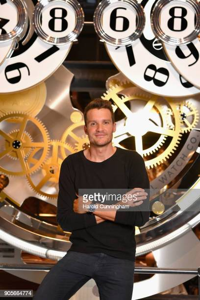 Jan Frodeno visits the IWC booth during the Maison's launch of its Jubilee Collection at the Salon International de la Haute Horlogerie on January 16...
