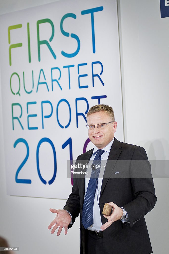 Jan Frykhammar, chief financial officer of Ericsson AB, speaks during the company's first-quarter earnings press conference in Kista, Sweden, on Friday, April 23, 2010. Ericsson AB the world's largest maker of wireless networks said its U.S. operations were strong and consumer demand for more wireless bandwidth was fueling growth. Photographer: Casper Hedberg/Bloomberg via Getty Images
