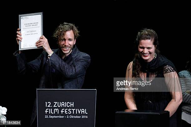 Jan Gassmann gives his acceptance speech after receiving the 'Focus' award for his movie 'Europe She Loves' on stage during the Award Night Ceremony...