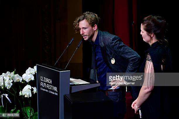 Jan Gassmann gives his acceptance speech after receiving the 'Focus' award for his movie Europe She Loves' on stage during the Award Night Ceremony...