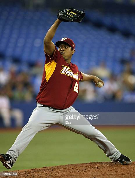 Jan Granado of Venezuela delivers a pitch against the USA during the 2009 World Baseball Classic Pool C match at the Rogers Centre March 11, 2009 in...