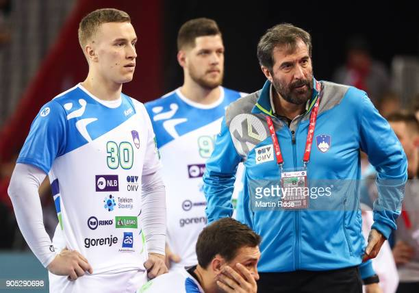 Jan Grebenc of Slovenia and Head coach Veselin Vujovic of Slovenia react during the Men's Handball European Championship Group C match between...