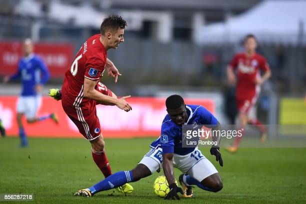 Jan Gregus of FC Copenhagen and Mayron George of Lyngby BK compete for the ball during the Danish Alka Superliga match between Lyngby BK and FC...