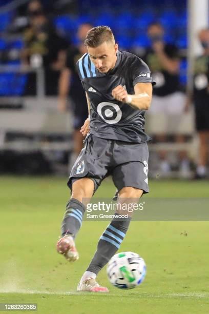 Jan Gregus of Minnesota United kicks the ball a quarter final match of MLS Is Back Tournament between San Jose Earthquakes and Minnesota United at...