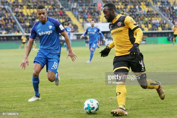 Jan Gyamerah of Bochum and Erich Berko of Dresden battle for the ball during the Second Bundesliga match between SG Dynamo Dresden and VfL Bochum...