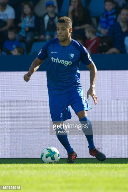 Jan Gyamerah of Bochum controls the ball during the Second Bundesliga match between VfL Bochum 1848 and SV Sandhausen at Vonovia Ruhrstadion on...