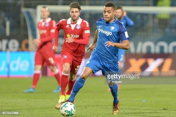 Jan Gyamerah of Bochum controls the ball during the second Bundesliga match between VfL Bochum 1848 and MSV Duisburg at Vonovia Ruhrstadion on...
