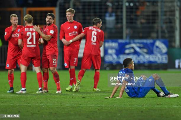 Jan Gyamerah of Bochum looks dejected after the Second Bundesliga match between VfL Bochum 1848 and DSC Arminia Bielefeld at Vonovia Ruhrstadion on...