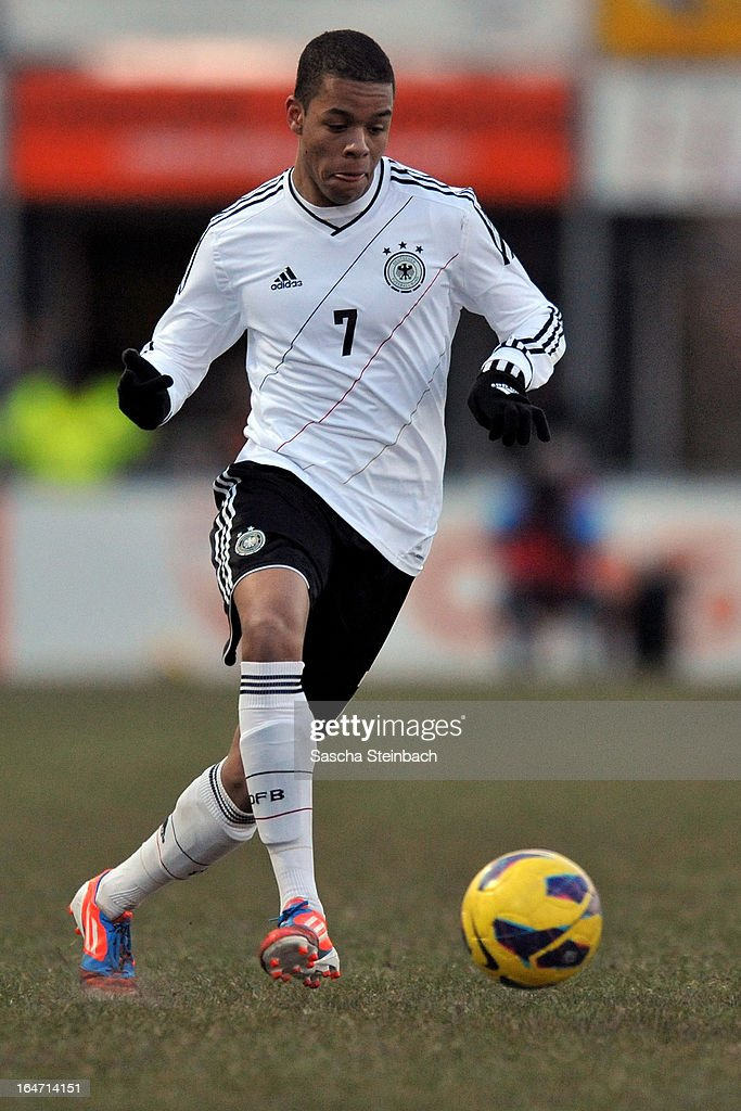 Jan Gyamerah of Germany runs with the ball during the U18 International Friendly match between The Netherlands and Germany on March 26, 2013 in Vriezenveen, Netherlands.