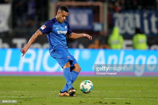 Jan Gyamerahof Bochum runs with the ball during the Second Bundesliga match between VfL Bochum 1848 and MSV Duisburg at Vonovia Ruhrstadion on...
