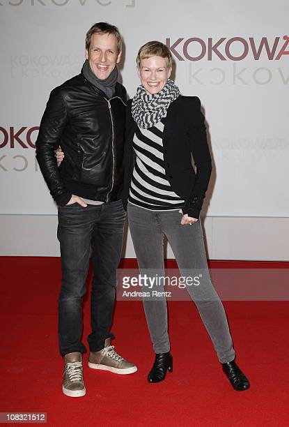 Jan Hahn and Karen Heinrichs arrive for the ''Kokowaeaeh' Germany Premiere at CineStar on January 25 2011 in Berlin Germany