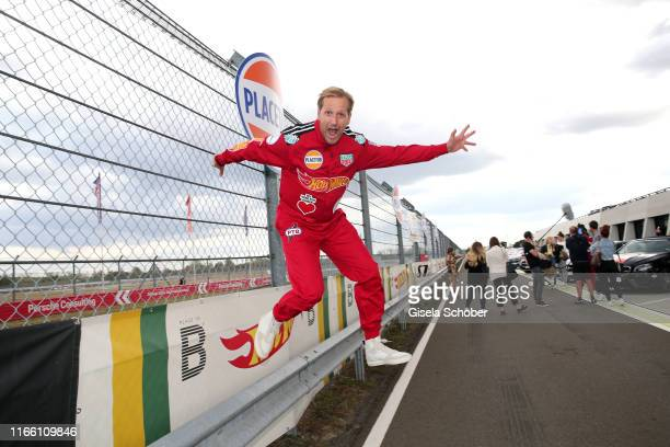 Jan Hahn jumps during the charity racing Place to B for the benefit of Ein Herz fuer Kinder on September 5 2019 in Leipzig Germany