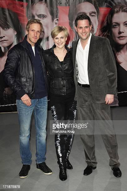 Jan Hahn Karen Heinrichs And Matthias Killing at the Premiere Of Sat1 event twoparter The Border Cinestar in Berlin Sony Center in Berlin