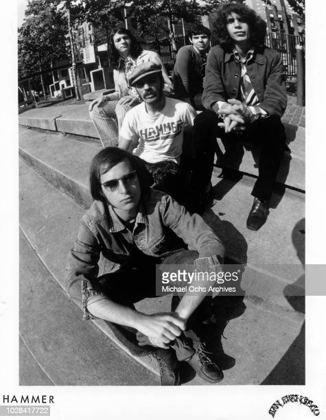 """Jan Hammer and his band """"Hammer"""" pose for a portrait in 1976."""