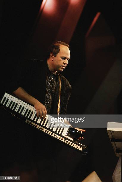 Jan Hammer, Czech-born composer, pianist and keyboardist, in concert, playing the keyboards, circa 1987.
