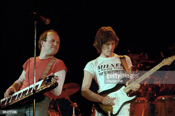 Jan Hammer, playing a keytar, and Jeff Beck performing at the ARMS benefit concert at the Cow Palace in San Francisco on December 3, 1983.
