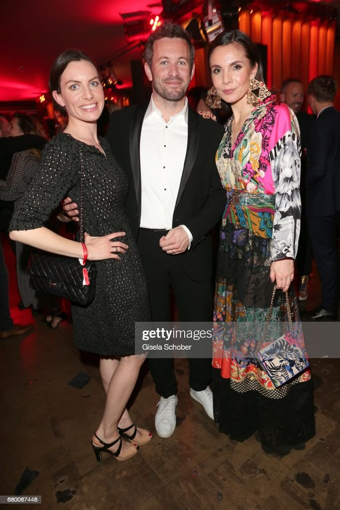 Jan Hartmann and his wife Julia Hartmann and Nadine Warmuth during the New Faces Award Film at Haus Ungarn on April 27, 2017 in Berlin, Germany.
